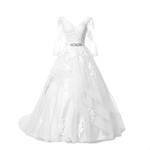 Kevins Bridal Double V-Neck Lace Wedding Dress Long Sleeves Ruffle Bridal Gowns White Size 6
