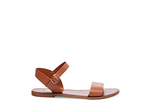 Steve Madden Women's Donddi Dress Sandal, Tan Leather, 9 M US (Leather Sandals Brown)