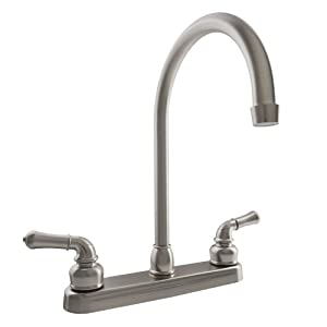 Dura Faucet (DF-PK330HC-SN) J-Orate RV Kitchen Faucet in Brushed Satin Nickel - Replacement Faucet for Motorhomes, 5th Wheel, Trailer, Camper