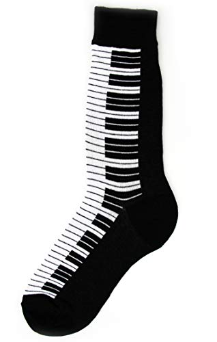 Foot Traffic - Men's Music-Themed Socks, Piano (Shoe Sizes 7-12)