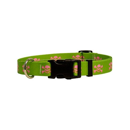 Green/Pink Skulls Dog Collar - Size Teacup 4'' to 9'' Long - Made In The USA