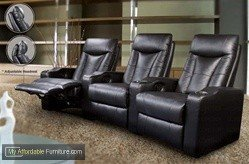 Coaster Pavillion Leather Home Theater Seating in Black by Coaster Home Furnishings