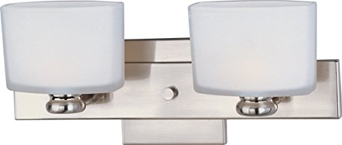 - Maxim 9002SWSN Essence 2-Light Bath Vanity Wall Sconce, Satin Nickel Finish, Satin White Glass, G9 Frost Xenon Xenon Bulb , 100W Max., Dry Safety Rating, 2700K Color Temp, Standard Dimmable, Glass Shade Material, 1150 Rated Lumens