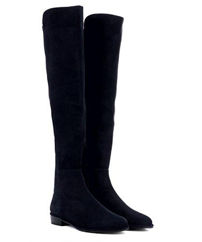 Stuart Suede Black Boots Women's Weitzman ALLGOODSUEDENAVY HqvwrHg
