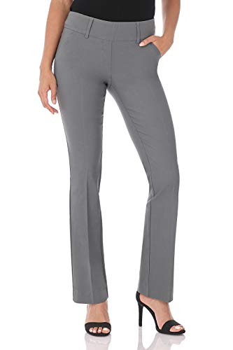 Rekucci Women's Ease in to Comfort Fit Classic Bootcut Pant w/Tummy Control (10,Graphite)