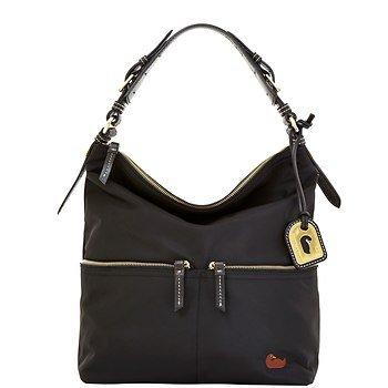 Dooney and Bourke Nylon Medium Pocket Sac Black with Black Trim, Bags Central
