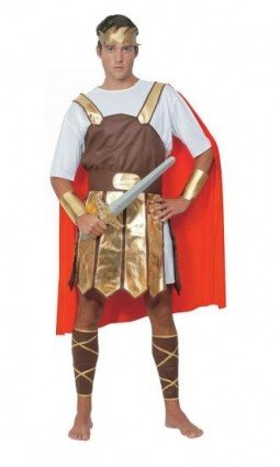 [Red & Gold Men's Trojan Soldier Costume] (Trojan Soldier Costume)