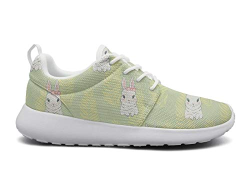 Womens Ultra Lightweight Breathable Mesh Athleisure Sneakers Cute Cartoon White Bunny Yellow Fashion Walking Shoes -