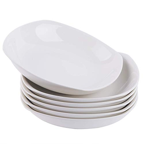 Cutiset  20 Ounce Porcelain Fruits/Salads/Soup Serving Bowls, Set of 6, Shallow and Wide (8-inch/ 20 Ounce, Square) (Set Soup Serving)