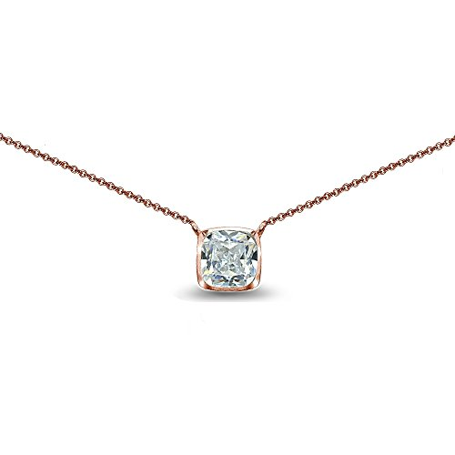 (Rose Gold Flashed Sterling Silver Cubic Zirconia Cushion-Cut Bezel-Set Solitaire Choker Necklace)
