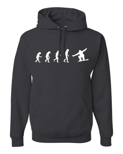ShirtLoco Men's Evolution Of Man To Snowboarder Hoodie Sweatshirt, Charcoal Large