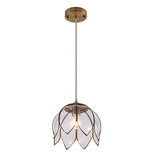 YIFI Brass Pendant Light Lotus Vintage Glass Adjustable Ceiling Pendant Light for Kitchen Island Dining Room Bedroom Living Room, Clear
