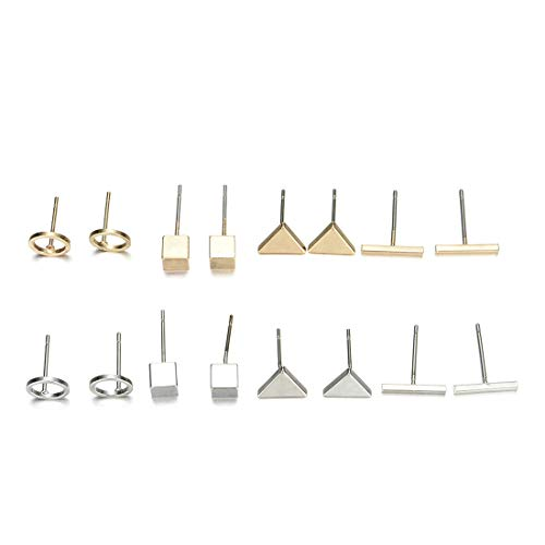 Minimalist Alloy Geometric Stud Earrings for Women Ear Piercing Jewelry Set Bar Square Triangle Round Circle Earring-Gold four pairs