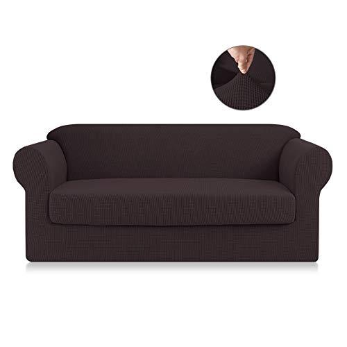 SyMax Spandex Sofa Slipcovers 2-Piece Anti-Slip Sofa Seat Covers Furniture Protector for Living Room(Sofa, Chocolate)