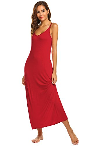 Ekouaer Sleeveless Nightgown Women's Cotton Sleepdress Chemise (Red, Large)