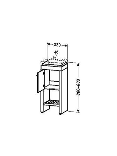 Duravit Waschtischunterschrank steh. 2nd floor 290x380x860-880mm 1 Tür, f.079040, TA li., eiche anth