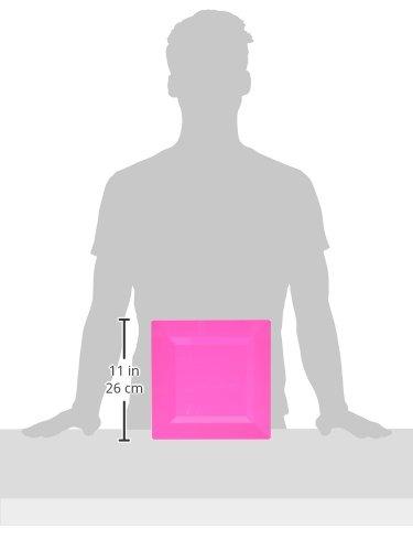 10 Ct Party Tableware 438550.103 Amscan Premium Bright Pink Plastic Square Plates