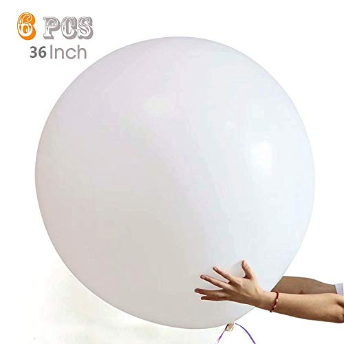 36 Inch Giant Latex Balloon (Premium Helium Quality) Pkg/6 Big Latex White Balloons for Party/ Birthdays /Wedding/Festivals Christmas and Event Decorations]()