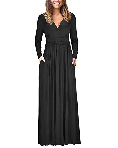 OUGES Womens Long Sleeve V-Neck Wrap Waist Maxi Dress(Black,M) ()