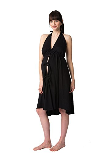 [Pretty Pushers Cotton Jersey Labor Gown One Size (2-16 pre-pregnancy) Black] (Halter Jersey Tie)