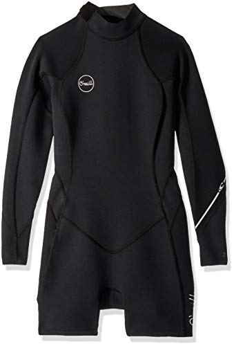 O'Neill Wetsuits Women's Bahia 2/1mm Back Zip Long Sleeve Spring, Black/Black/Black, Size 8