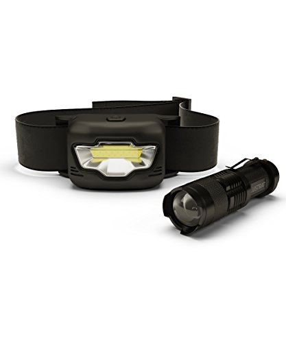 Tactical Flashlight and LED Headlamp, 3 Modes White & Red, Zoomable, Water Resistant for Camping, Running, Hiking, Ultimate Outdoor Value Pack, Black