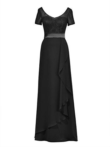 Robes De Demoiselle D'honneur En Mousseline De Soie Alicepub Longue W / Manches Courtes Fête De Mariage De Noir Maxi Robe