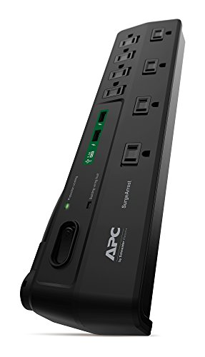 APC 8-Oultet Surge Protector Power Strip with USB Charging Ports, 2630 Joules, SurgeArrest Home/Office (P8U2)