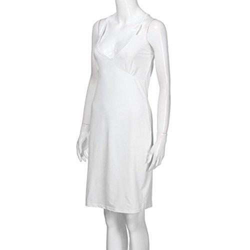 v noir manches maigre Femmes cou nude LUCKYCAT d't unie sans sexy Sexy robe Blanc et couleur courte mini blanc nZfvfwqRx