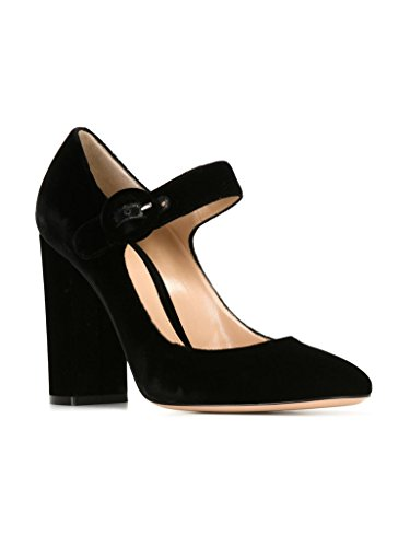 elashe Women High Heels Pumps | Ankle Buckle Block Heel Court Pumps |10cm Elegante Party Pumps Matte-Black 6A4QqEa40