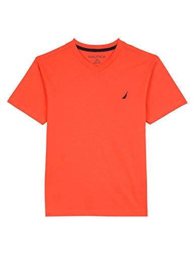 Nautica Boys' Short Sleeve Solid V-Neck T-Shirt, Firework, 7X (Firework T-shirt Short Sleeve)