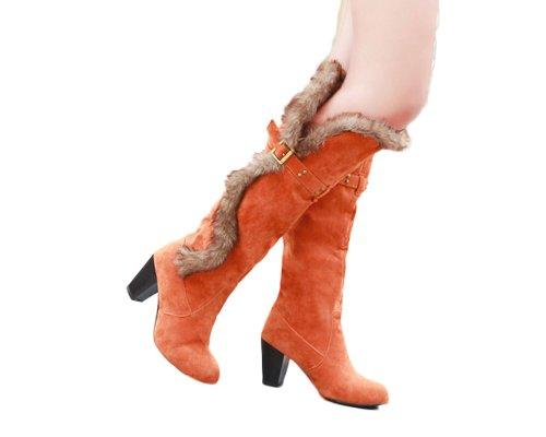Bedel Voet Mode Namaakbont Damessokken Hoge Hak Kniehoge Sneeuw Oranje