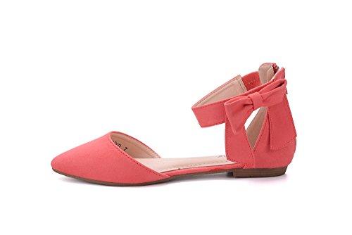 Mila Dam Jocelyn Mode Nya Ankelbandet Med Rosett Spetsiga Tå Kvinnas Mode Lägenheter Korall