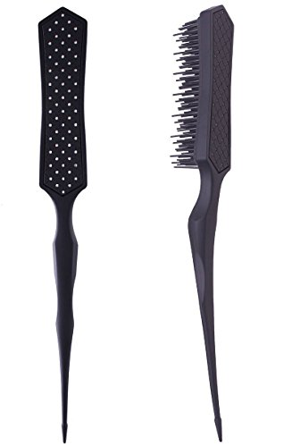 2pcs Detangling Brush Hairstyles Teasing Comb for Volume Hair, Rattail Comb Backcombing Brush for Fine Thin Hair - Black (Best Comb For Teasing Hair)