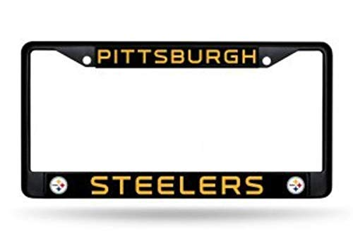 ClustersNN Bhartia Pittsburgh Steelers Black License Plate Frame Metal Tag Holder 12