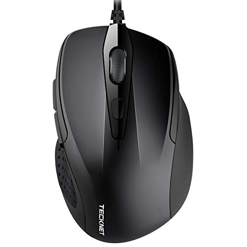 TECKNET 6-Button USB Wired Mouse with Side Buttons, Optical Computer Mouse with 1000/2000DPI, Ergonomic Design, 5ft Cord, Support Laptop Chromebook PC Desktop Mac Notebook-Black