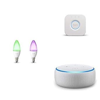 Echo Dot gris claro + Philips Hue White and Color Ambiance - Pack de 2 bombillas LED E14 ...