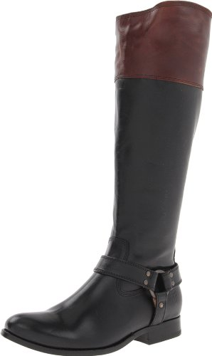 Frye Women's Melissa Harness Inside-Zip Boot Black Multi Smooth Vintage Leather-76928 6ac0plM