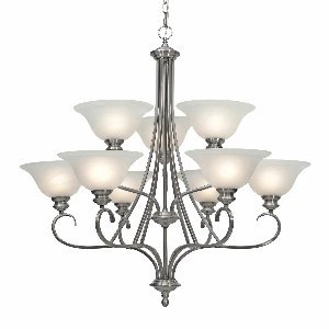 Golden Lighting 6005-9 PW Lancaster Two Tier Chandelier, Pewter Finish - Pewter Chandelier