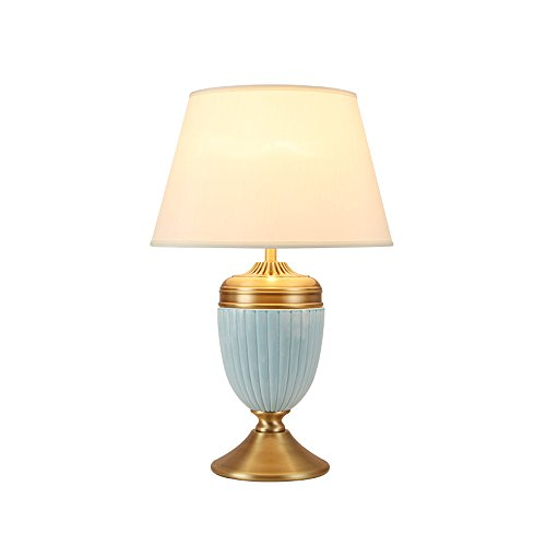 ETERN Chinese ceramics table lamp 40 62cm living room bedroom high-end pure copper lamps by ETERN Table Lamp