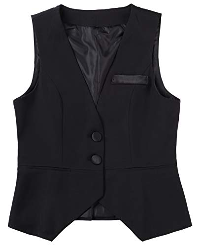 (Foucome Womens V-Neck Suit Vest Two Button Formal Business Tuxedo Waistcoat Sleeveless Jacket Coat Top Black)