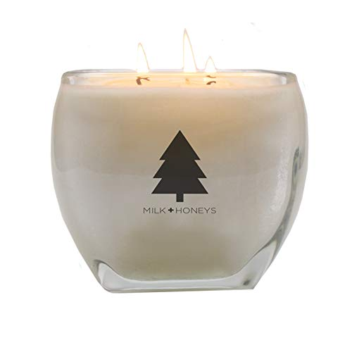 - CHRISTMAS JOYEUX Winter Scented 100% Soy Candle - Large 15oz 3 Wick, Glass Tapered Square Jar - Hand Poured Using only The Very Finest Waxes and Fragrances