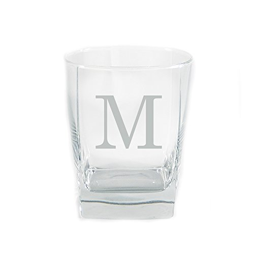 (Monogrammed Sterling DOF Glass Set of 4 Customized Crystal Rocks Glasses, Monogrammed Crystal Whiskey Glasses, Engraved Crystal Old Fashioned Glasses, Mens Gifts, Personalized Birthday Gifts)
