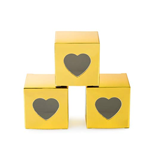 Price comparison product image Gold Gift Boxes 2x2x2 inch with Clear Heart Window for Candy Treat Gift Wrap Box Party Favor 50pc