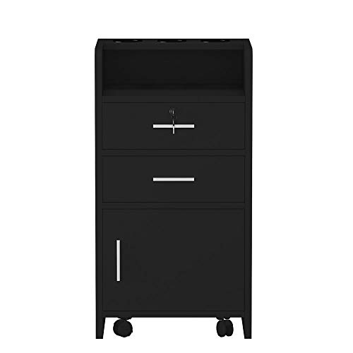 LIUSHI Salon Rolling Cart,3-layer Spa Wood Rolling Drawer Cabinet Trolley with Lock and 3 Hair Dryer Holders