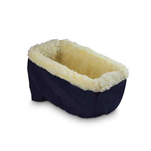 Snoozer Console Pet Car Seat Cream Fur, Large, Denim