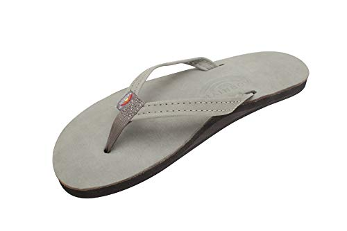 Rainbow Sandals Women's Single Layer Premier Leather Narrow Strap, Grey, Ladies 10/9.5-10.5 B(M) US