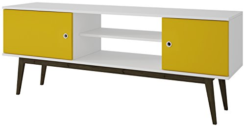 Collection 50' Tv Stand (Manhattan Comfort Salem TV Stand Collection Free Standing Flat Screen TV Stand with Storage Entertainment Center with Wooden Splayed Legs, White/Yellow)
