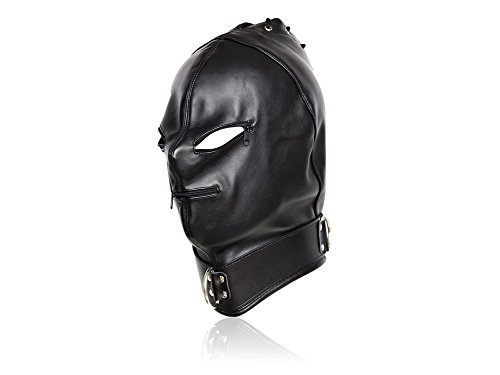 New Design Halloween Costume Hood Mask with Zipper Black Faux Leather Holiday Party (Dominatrix Costumes Halloween)