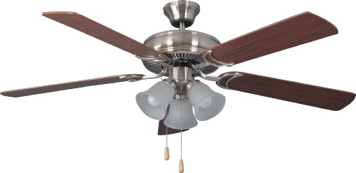 Craftmade DCF52BNK5C3 Decorator Choice Dual Mount 52 Ceiling Fan with 180 Watts Light Kit, 5 MDF Blades, Brushed Nickel